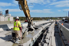 October 2019 - A worker saw-cuts a section of the concrete deck for removal on the U.S. 1/Roosevelt Expressway viaduct in North Philadelphia.