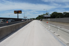 May 2019 - A long view of the closed median with a temporary barrier in place.