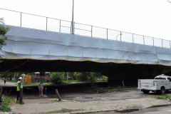 May 2019 - Fabric encases a section of the viaduct in Philadelphia's Nicetown section. The fabric prevents paint and dust as the steel components are cleaned and painted.