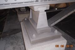 """September 2019 - A repaired and repainted """"beam seat"""", where deck beams rest atop support columns, on the underside of the viaduct."""