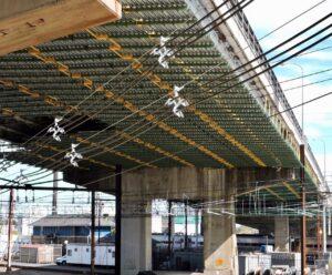 Deck shielding in place under the bridge